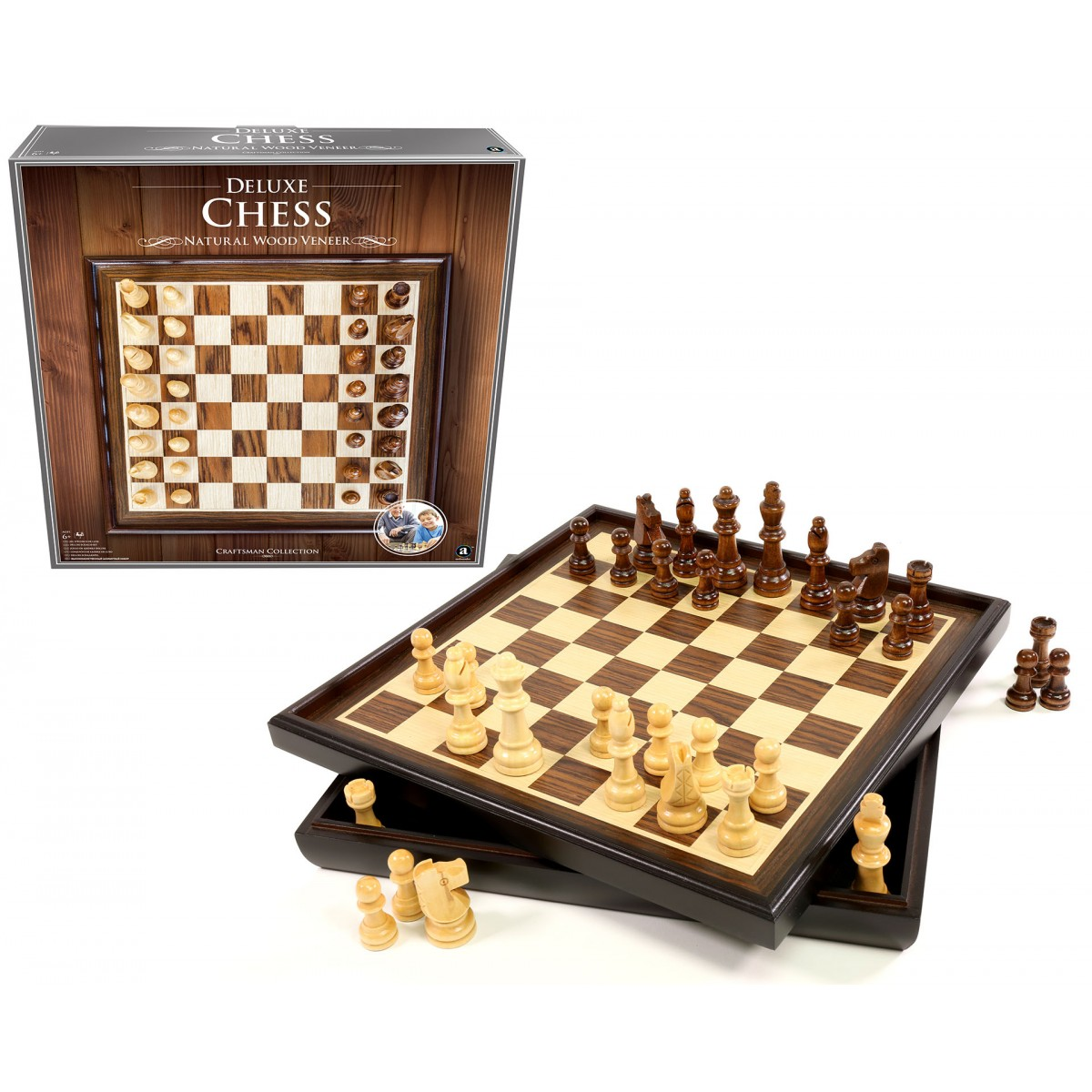Craftsman natural wood veneer deluxe chess set - Deluxe chess sets ...