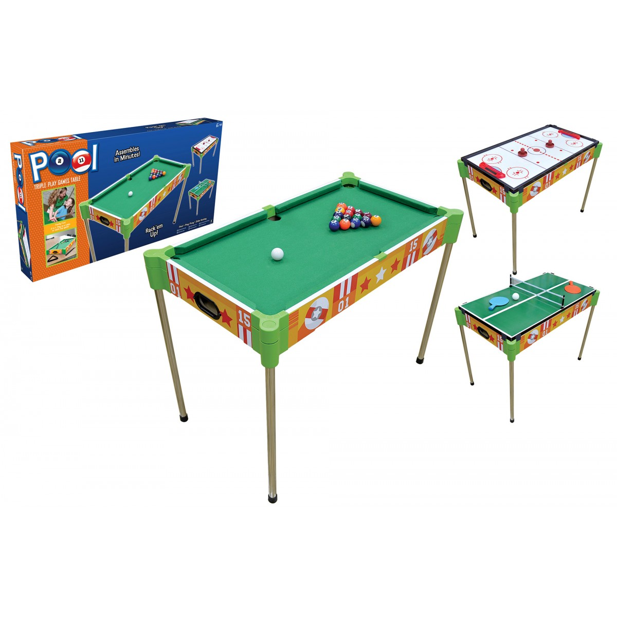 32u201d Triple Play Wood Pool Table U0026 Tabletop (+Ping Pong + Slide