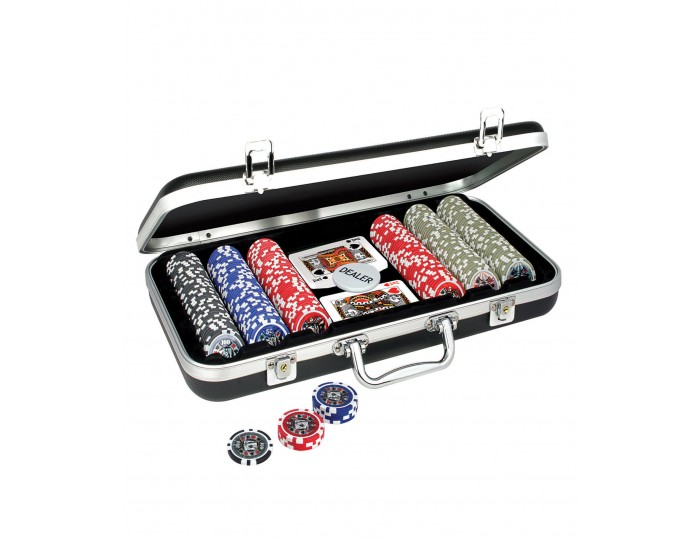 ProPoker 300 11.5g  Poker Chips In Stunning Black Aluminum Case with DVD