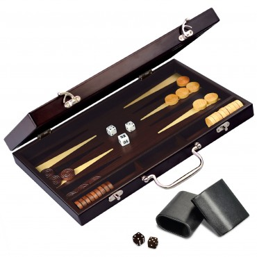 CRAFTSMAN Natural Wood Veneer Deluxe Backgammon Set