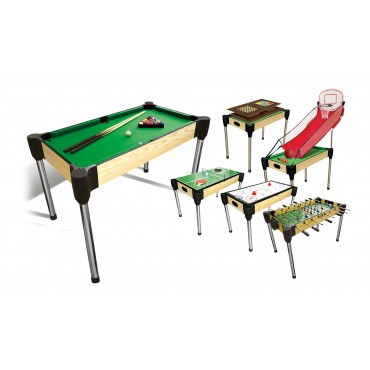 """48"""" (122cm) 11-in-1  Games Table (Pool, Basketball, Table Tennis (Ping Pong), Slide Hockey + Foosball (stacked) + 6 board games)"""