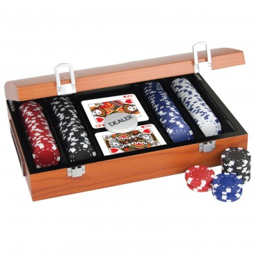 ProPoker 200 11.5g Poker Chips In Rose Wood Case with DVD