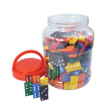 Classic Games Collection - 168 Colored Wood Dominoes in Tub