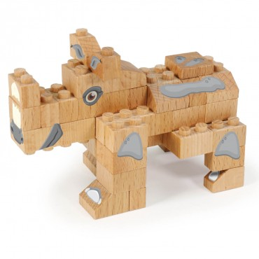 WWF Wood Brick Collectible Figures - Rhino