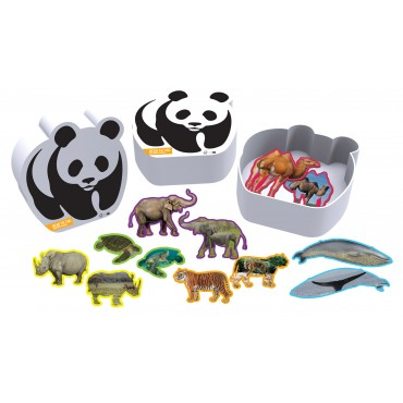 WWF 12 Animal Shaped Puzzles in Panda Box