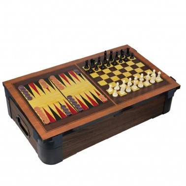 """24"""" 5-in-1 Wood Tabletop Pool (+Ping Pong + Chess + Checker + Backgammon)"""