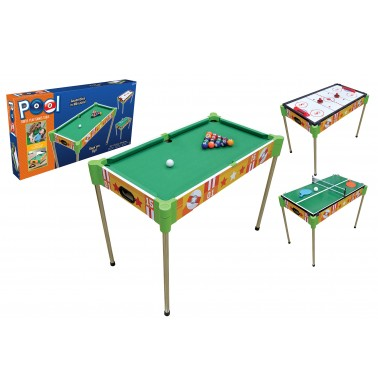 "32"" Triple-Play Wood Pool Table & Tabletop (+Ping Pong + Slide Hockey)"