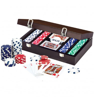 CRAFTSMAN Natural Wood Veneer Deluxe Poker Set