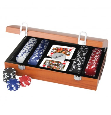 ProPoker 200 11.5g Poker Chips In Rose Wood Case