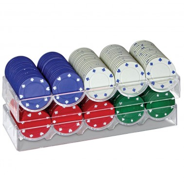 ProPoker 200 Poker Chips In Tin Case With Felt Mat