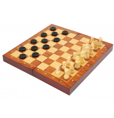 Folding Wood Chess & Checkers Set