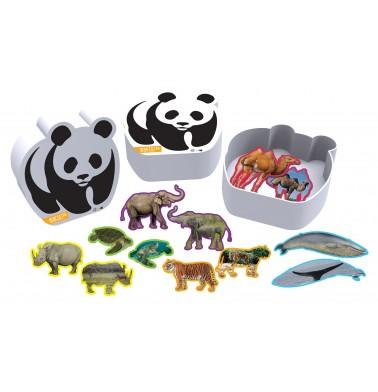 WWF 12 Animal Shaped Puzzles in Panda Box