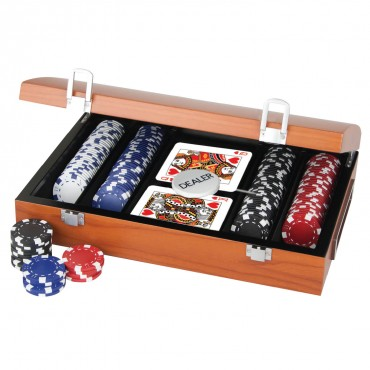 ProPoker 200 11.5g Poker Chips In Rose Wood Case